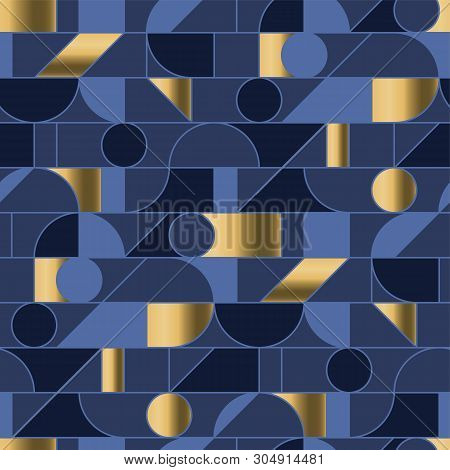 Abstract Geometric Shapes Mesh Seamless Pattern In Retro 70s Vibes. Blue And Gold Luxury Repeatable
