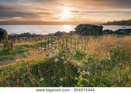 Dusk On Larne Lough From Millbay Harbour, Islandmagee, County Antrim, Northern Ireland.