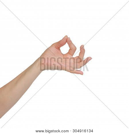 Beautiful Woman Hand Holding Items Isolated On White Background. Hamsasyo Hasta Hand Gesture, Also C