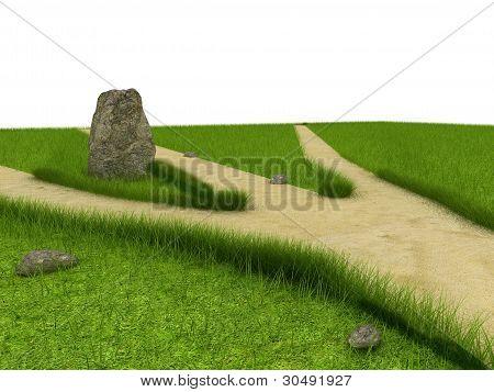 Divarication at green field near the huge stone