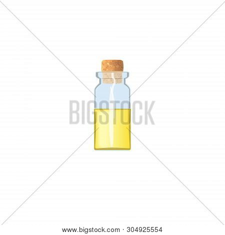 Oil Empty Phial With Yellow Liquid And Cork, Tranparent Icy-white Vial, Scent Bottle, Medicine Bottl