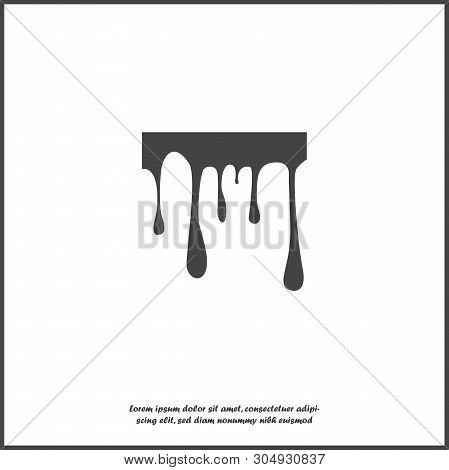 Vector Illustration Of A Stain Of Paint. The Dripping Liquid. Paint Flows On The Wall. Dripping Ink