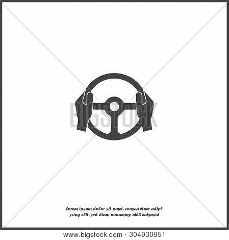 Vector Icon Of Car Steering Wheel And Drivers Hands On White Isolated Background.
