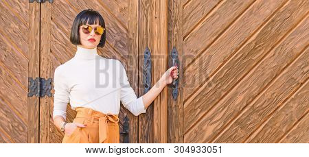 Fashion And Style Concept. Woman Walk In Elegant Outfit. Woman Fashionable Brunette Stand Outdoors W