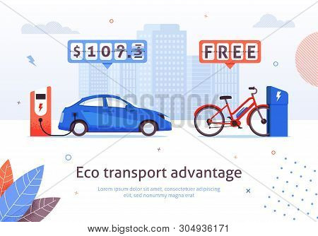 Eco Transport Advantage. Electric Car Charging Station. E-bike Free Recharge Vector Illustration. Al