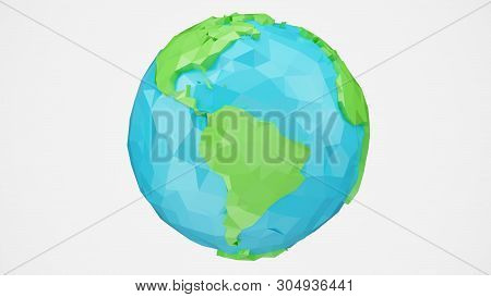 3d Rendering Rotated Low Poly Earth With Alpha Channel, Globe Illustration. Polygonal Globe Isolated