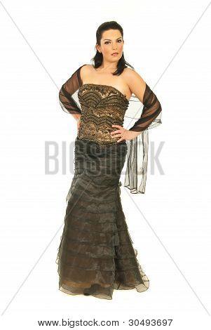 Woman In Elegant Long Dress