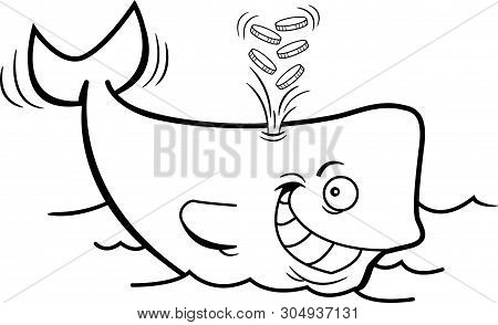Black And White Illustration Of A Whale Spouting Gold Coins.