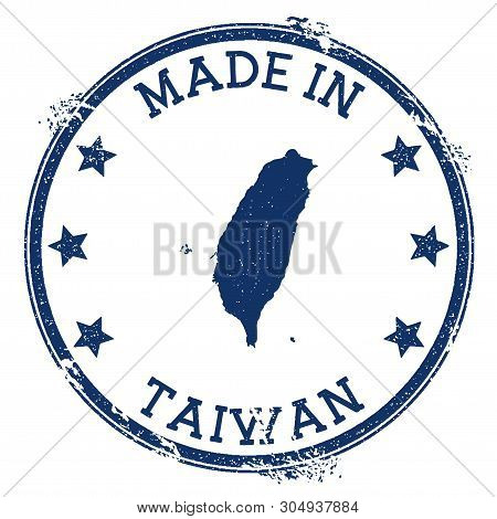 Made In Taiwan Stamp. Grunge Rubber Stamp With Made In Text And Country Map. Marvelous Vector Illust