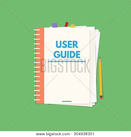 User Guide Book. Handbook With Cover And Text User Guide. Instructions And Guidance Manual Textbook.