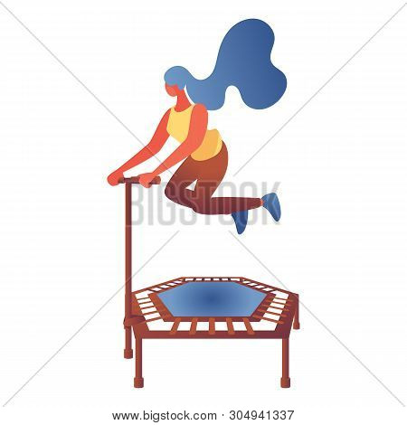 Young Woman Jumping On Trampoline. Flat Character Drawn With Bright Colors Gradients In Modern Style