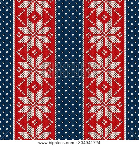 Winter Holiday Seamless Knitted Pattern With Snowflakes. Christmas And New Year Design Background. K
