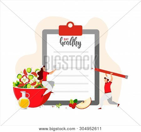 Small Mini-cooks Make Up The Menu For The Day. Clipboard With Blank Paper And Red Pencil. Green Sala