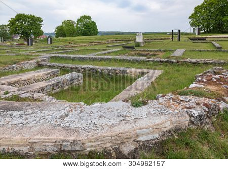Ruins of Abusina (Abusena), a Roman castra (military outpost) on the Limes Germanicus frontier at Danube river near Eining, Bavaria, Germany, now part of the UNESCO World Heritage Site Danube Limes