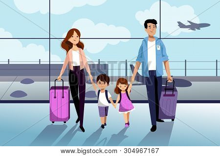 Happy Family With Two Kids Going To Their Summer Vacation. Family Travel By Airplane. Young Woman, M