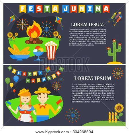 Festa Junina- Nationwide Brazilian Holiday. Flat Cartoon Style.