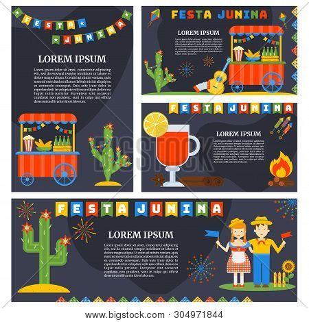 Festa Junina- Nationwide Brazilian Holiday. Flat Cartoon Style.