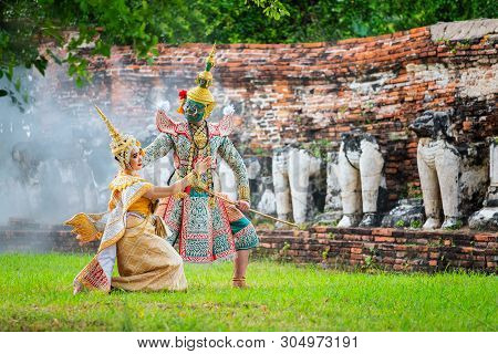 Art Culture Thailand Dancing In Masked Khon In Literature Ramayana,thai Classical Monkey Masked, Kho
