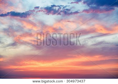 Dramatic Sunset And Sunrise Sky With Pink Clouds