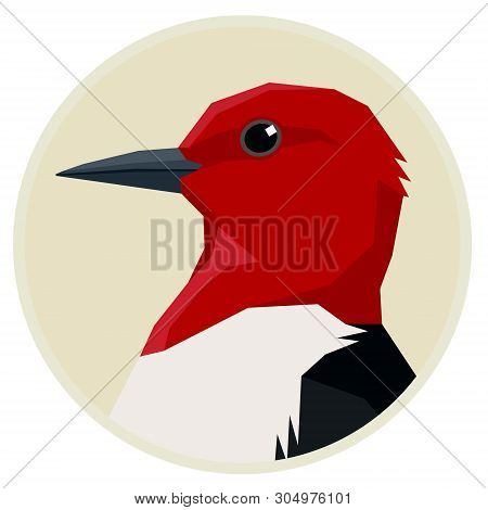 Red Headed Woodpecker Birds Collection Vector Illustration Round Frame Set