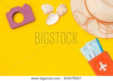 Funny Vocation Concept With Camera, Hat, Passport And Tickets On Yellow Background Top View Space Fo
