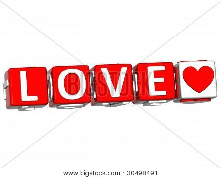 3D Love Button Cube Text