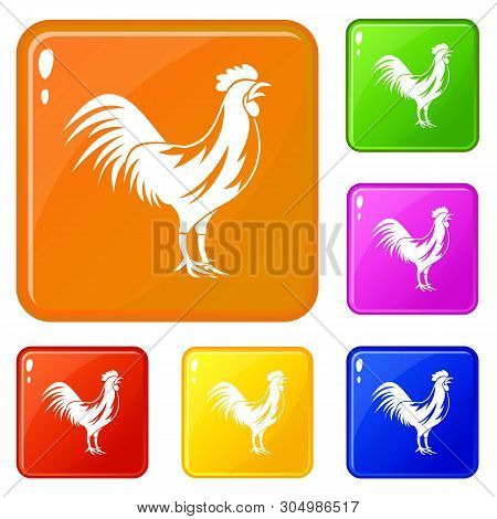Gallic Rooster Icons Set Collection Vector 6 Color Isolated On White Background