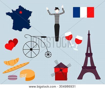 Set Of French Icons. Paris Sketch Illustration. Cartoon Paris Themed Images. Paris Symbols. Mime. Fr