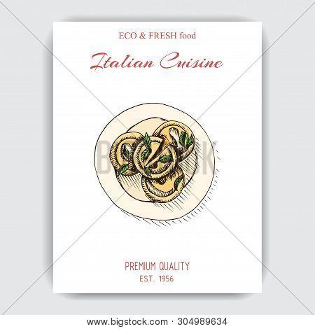 Vector Illustration Sketch - Ravioli. Card Italian Food.