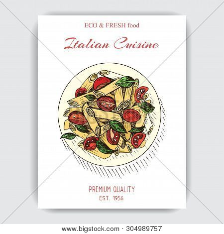 Vector Illustration Sketch - Italian Food. Pack Of Pasta. Penne Rigate.
