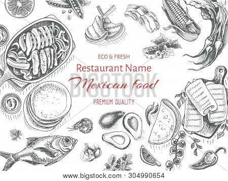 Vector Illustration Sketch - Mexican Food. Card Menu Mexican Cuisine. Vintage Design Template, Banne