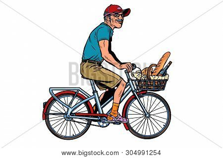 Old Man On Bike With Shopping Food. Pop Art Retro Vector Illustration Vintage Kitsch