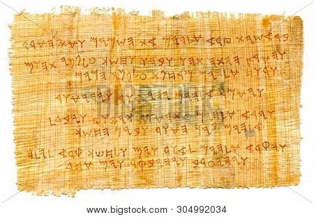 Beirut, Lebanon -- November 28, 2012:  The Phoenician Manuscript. The Most First Alphabet In The Wor