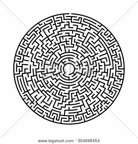 Maze In Abstract Style. Labyrinth Game. Black Maze Circle. Black Labyrinth. Maze Symbol. Labyrinth I