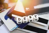 Debt credit card / Increased liabilities from exemption debt consolidation concept of financial crisis and problems risk business management loan interest poster