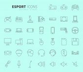 Line design icon set of video game and esport device concept. Editable stroke vector icon. poster