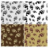 Bear tracks Seamless Texture 4 variants Vector Background poster