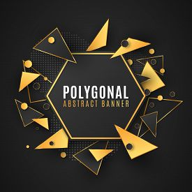 Modern Polygonal Banner Of Geometric Shapes. Low Poly Style. Random Triangular Forms. Black And Gold