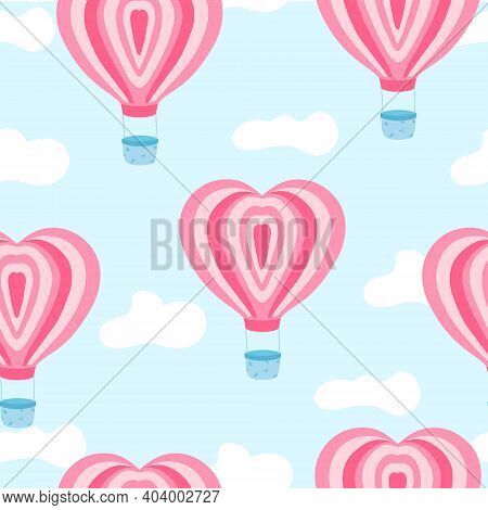 Cute Pattern With Pink Air Ballon With Heart Shape In The Sky With Clouds. Vector
