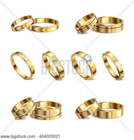 Gold Wedding Rings 6 Realistic Isolated Sets Noble Metal With Diamonds Jewelry Against White Backgro