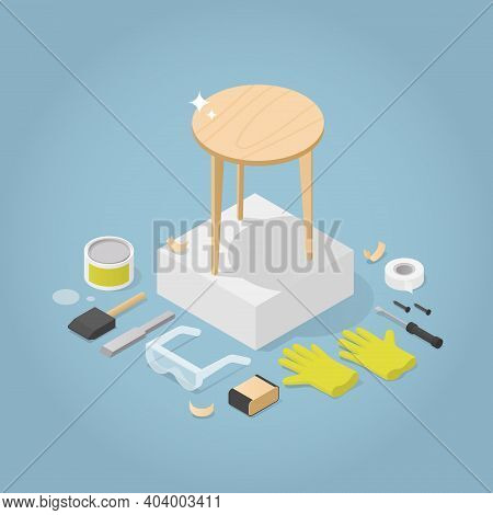 Vector Isometric Furniture Repair Illustration. Restored Wooden Coffee Table With Tools Laying Aroun