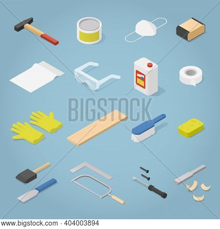 Vector Isometric Set Of Woodwork Tools. This Collection Of Instruments Include Hammer, Saw, Sandpape