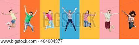 Collage With Excited Diverse Children Jump Together Posing Over Different Bright Colored Backgrounds
