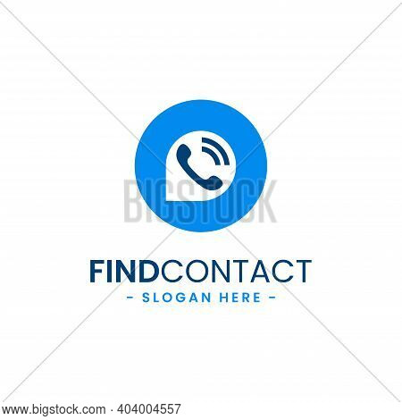 Find Contact Logo Design Template. Contact Finder Icon Vector. Telephone, Contact, Chat, Service Con