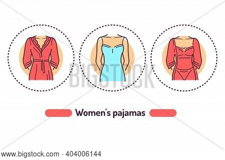 Lingerie Outline Concept. Category Of Womens Clothing Including At Least Undergarments, Sleepwear An
