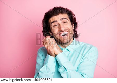 Photo Of Young Handsome Brown Hair Bristle Man Dreamy Appreciate Thankful Happy Smile Isolated Over