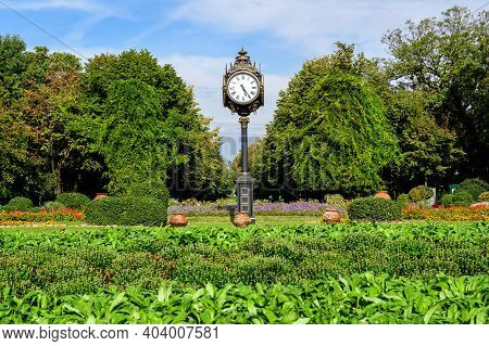 Landscape With The Main Entrance With Vivid Green Plants, Green Lime Trees And Grass In A Sunny Summ