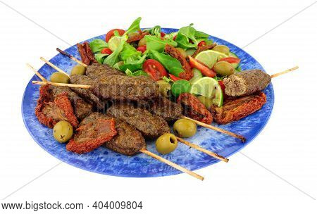 Lamb Meat Kofta Kebabs With Fresh Salad Isolated On White Background