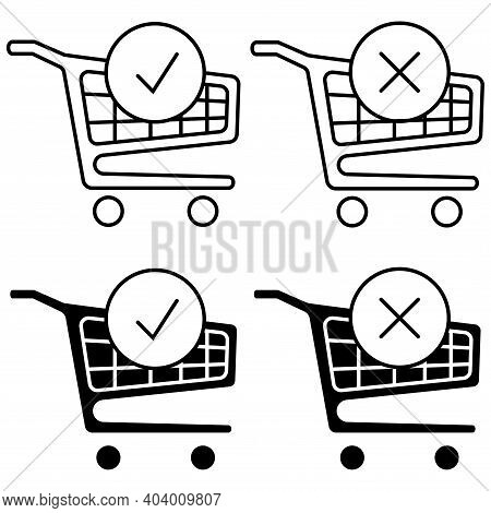 Shopping Cart And Check Mark Icon. The Order Is Complete. Place An Order. Trolley Symbol For Online