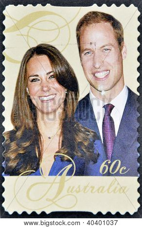 A stamp printed in Australia shows an image of Prince Williams and Kate Middleton